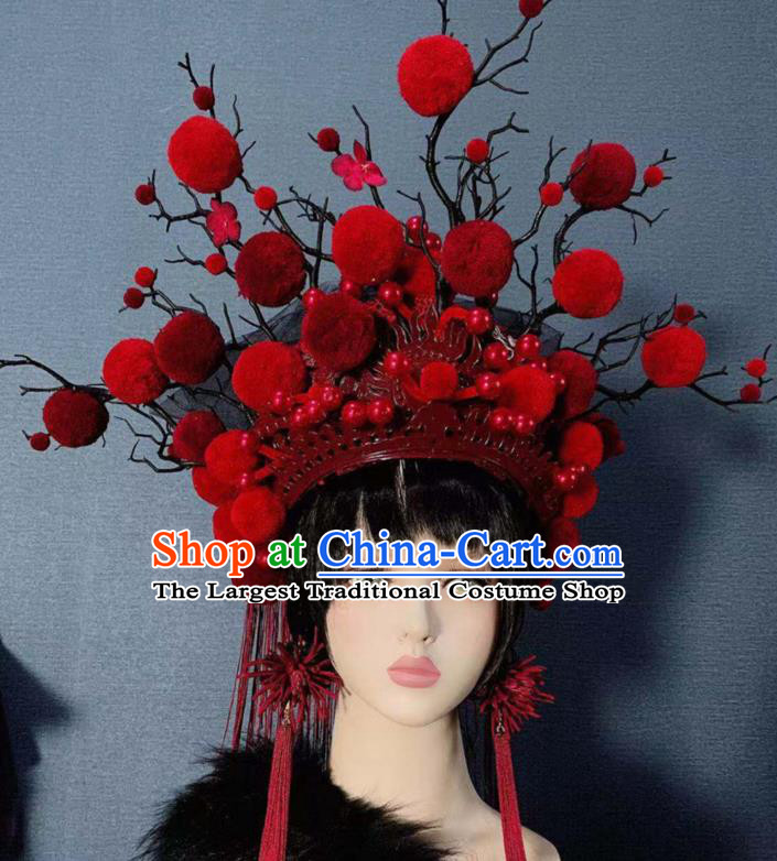 Traditional Chinese Deluxe Red Venonat Phoenix Coronet Hair Accessories Halloween Stage Show Headdress for Women