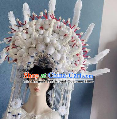 Traditional Chinese Deluxe White Venonat Feather Phoenix Coronet Hair Accessories Halloween Stage Show Headdress for Women