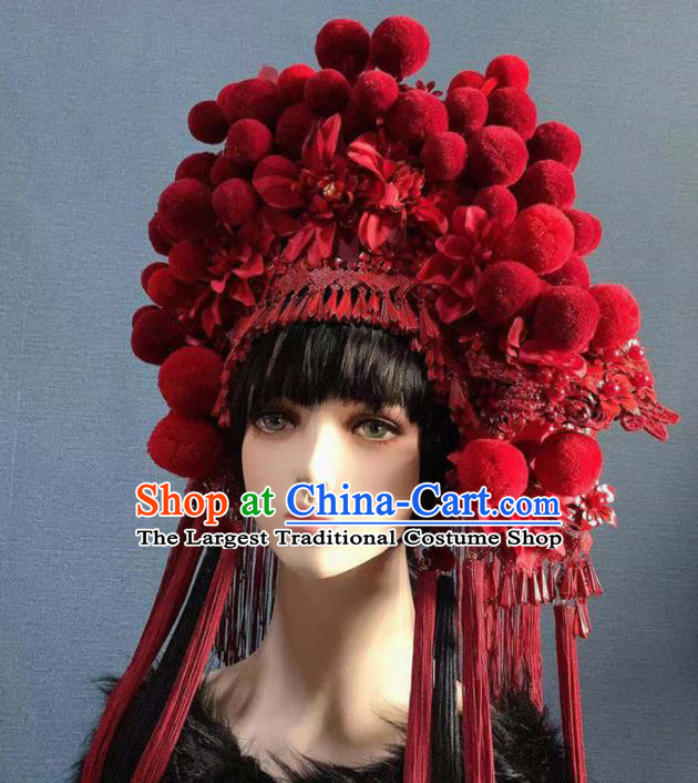 Traditional Chinese Deluxe Wine Red Venonat Phoenix Coronet Hair Accessories Halloween Stage Show Headdress for Women