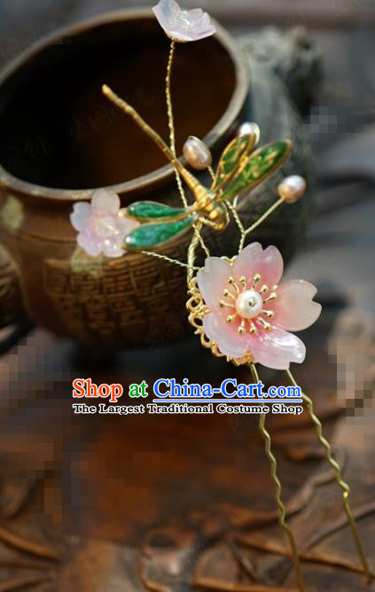 Traditional Chinese Handmade Court Green Dragonfly Plum Hairpins Hair Accessories Ancient Hanfu Hair Clip for Women