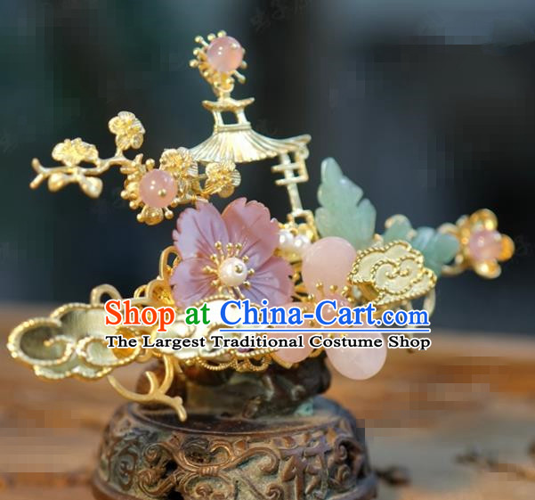 Traditional Chinese Handmade Court Golden Cloud Hairpins Hair Accessories Ancient Hanfu Hair Clip for Women