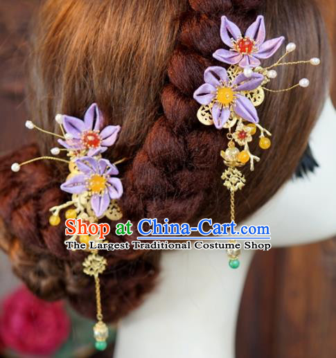 Traditional Chinese Handmade Court Purple Flower Hairpins Hair Accessories Ancient Queen Hanfu Hair Claws for Women