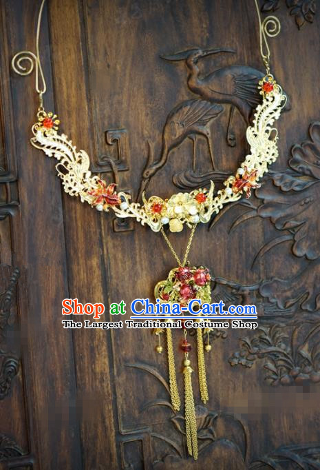 Traditional Chinese Handmade Court Golden Phoenix Necklace Jewelry Accessories Ancient Princess Tassel Necklet for Women