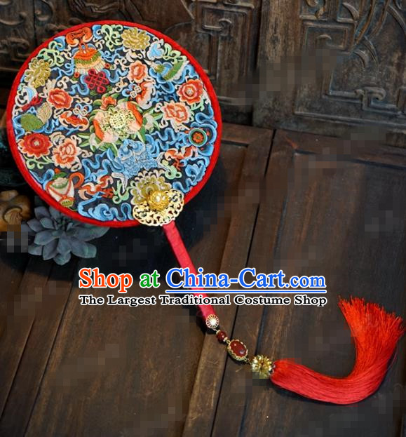 Traditional Chinese Handmade Court Wedding Round Fans Ancient Bride Palace Fan Accessories for Women