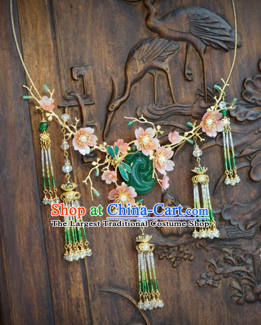 Traditional Chinese Handmade Court Jade Necklace Jewelry Accessories Ancient Princess Tassel Necklet for Women