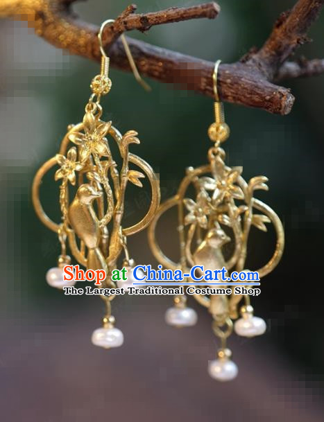 Traditional Chinese Handmade Court Ear Accessories Ancient Princess Golden Bamboo Bird Earrings for Women