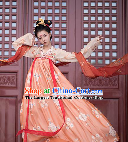 Traditional Chinese Tang Dynasty Imperial Consort Replica Costumes Ancient Court Princess Orange Hanfu Dress for Women