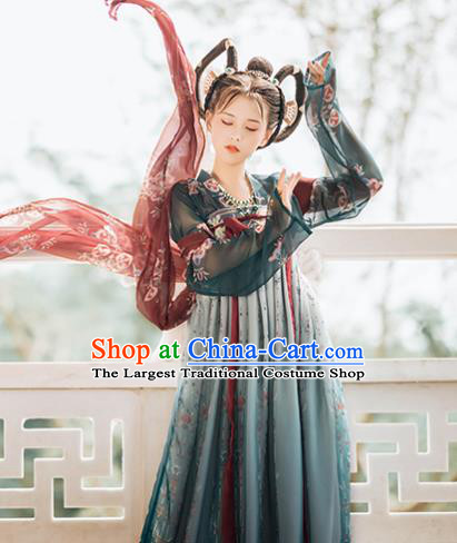 Traditional Chinese Tang Dynasty Court Replica Costumes Ancient Imperial Consort Deep Green Hanfu Dress for Women