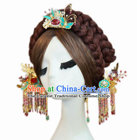 Traditional Chinese Wedding Luxury Hair Crown Hair Accessories Ancient Bride Tassel Hairpins Complete Set for Women