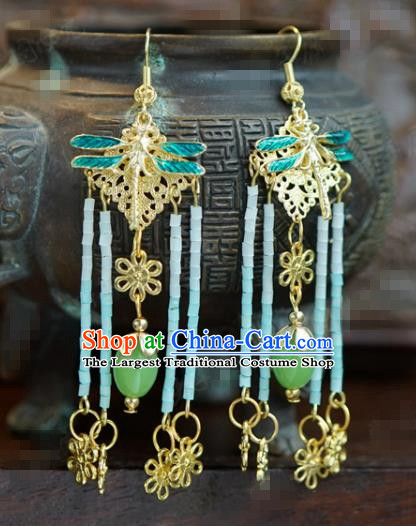 Traditional Chinese Handmade Court Dragonfly Tassel Ear Accessories Ancient Princess Earrings for Women