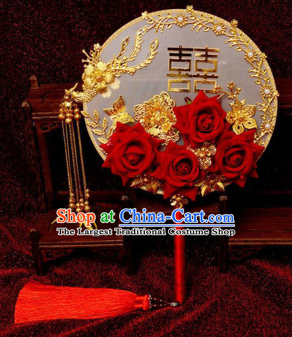 Traditional Chinese Handmade Court Wedding Red Roses Round Fans Ancient Bride Palace Fan Accessories for Women
