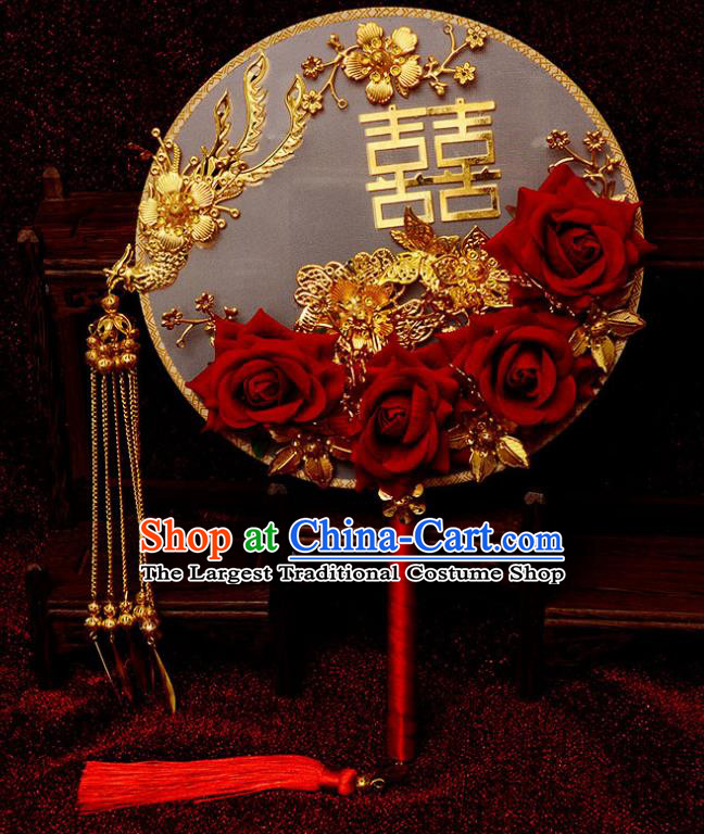 Traditional Chinese Handmade Court Wedding Phoenix Round Fans Ancient Bride Red Roses Palace Fan for Women