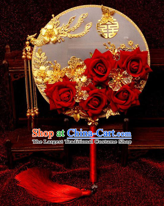 Traditional Chinese Handmade Court Wedding Round Fans Ancient Bride Red Roses Palace Fan for Women