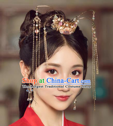 Traditional Chinese Wedding Hair Crown Hair Accessories Ancient Bride Tassel Hairpins Complete Set for Women