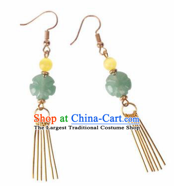 Traditional Chinese Classical Jade Flower Earrings Handmade Court Ear Accessories for Women