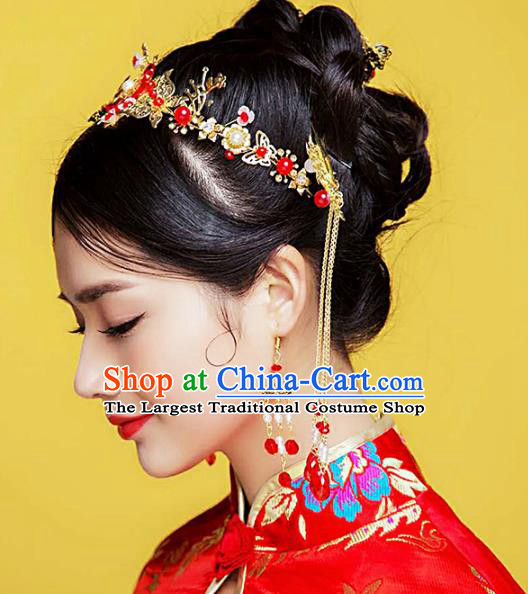 Traditional Chinese Handmade Wedding Red Hair Clasp Ancient Bride Hairpins Luxury Hair Accessories Complete Set