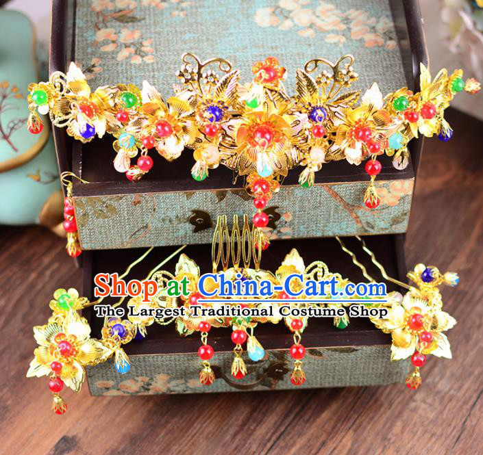 Traditional Chinese Handmade Wedding Hair Combs Ancient Bride Hairpins Luxury Hair Accessories Complete Set