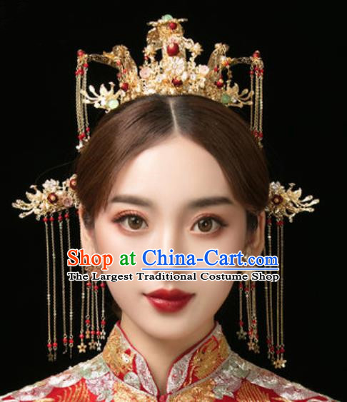 Traditional Chinese Wedding Hair Crown Hair Accessories Ancient Bride Tassel Hairpins Complete Set