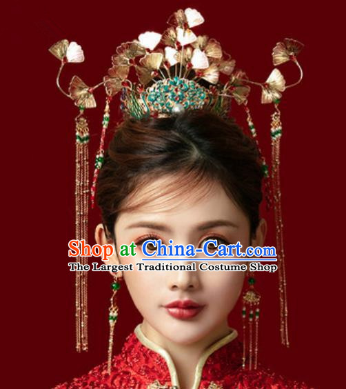 Traditional Chinese Ginkgo Wedding Hair Crown Hair Accessories Ancient Bride Tassel Hairpins Complete Set