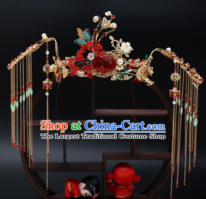 Traditional Chinese Wedding Luxury Red Phoenix Coronet Hair Accessories Ancient Bride Hairpins Complete Set