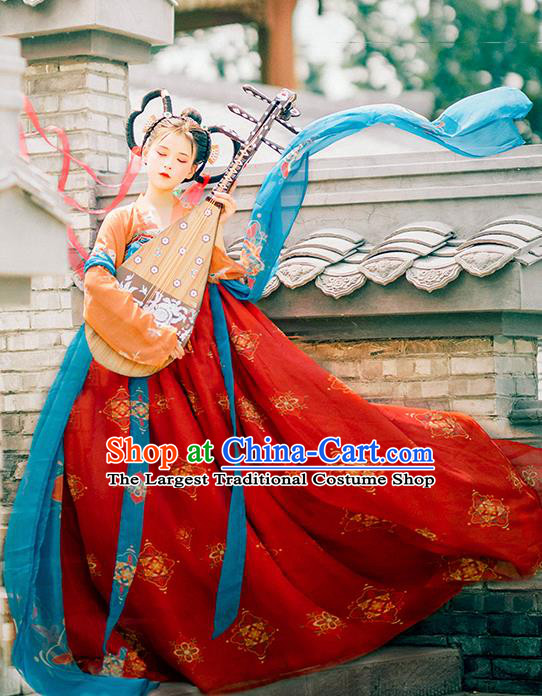 Traditional Chinese Tang Dynasty Royal Princess Replica Costumes Ancient Flying Apsaras Red Hanfu Dress for Women