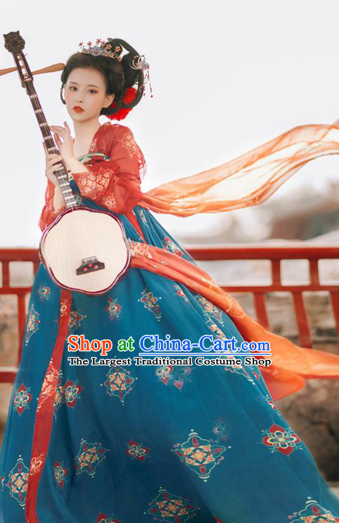 Traditional Chinese Tang Dynasty Replica Costumes Ancient Imperial Concubine Flying Apsaras Green Hanfu Dress for Women