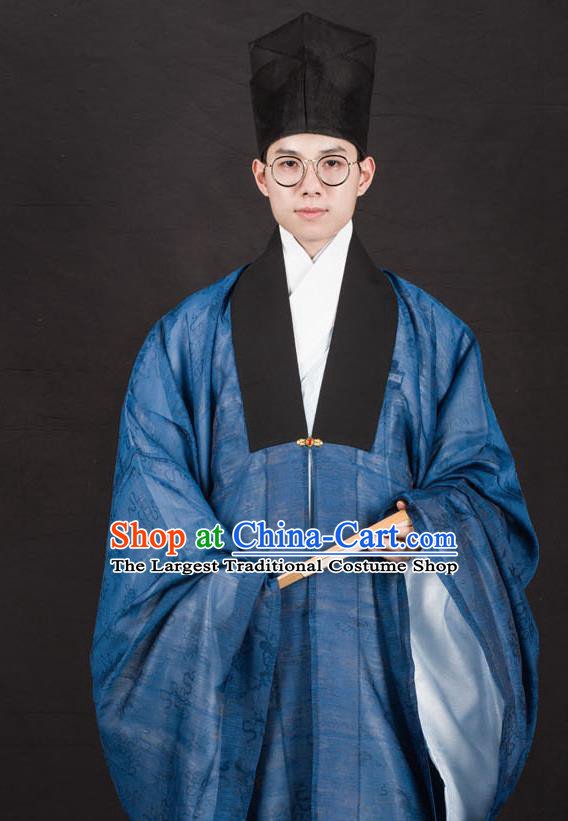 Traditional Chinese Ming Dynasty Scholar Replica Costumes Ancient Taoist Priest Hanfu Cloak for Men