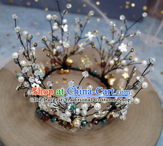Handmade Baroque Princess Crystal Black Royal Crown Children Hair Clasp Hair Accessories for Kids