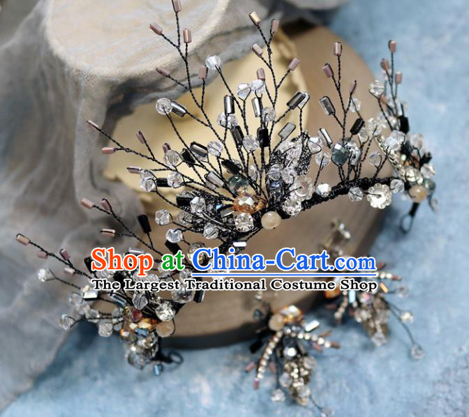 Handmade Baroque Princess Black Crystal Royal Crown Children Hair Clasp Hair Accessories for Kids