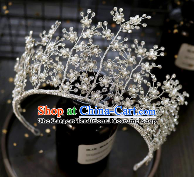 Handmade Baroque Princess Crystal Branch Royal Crown Children Hair Clasp Hair Accessories for Kids