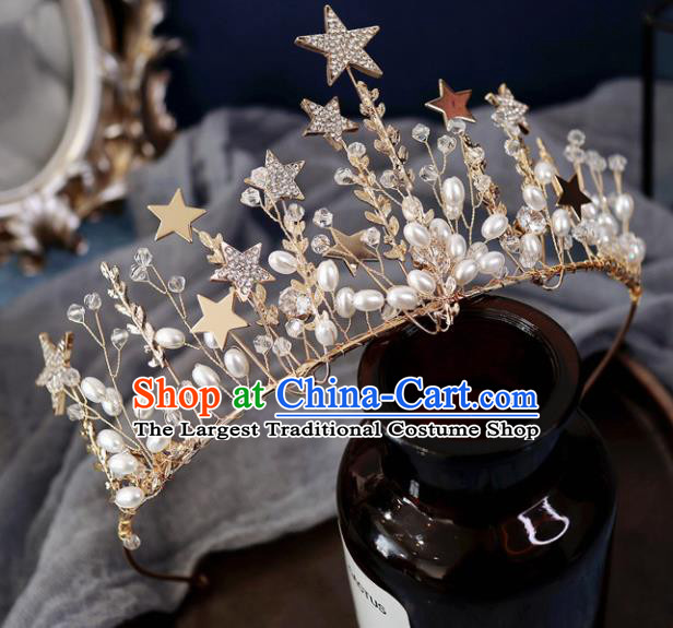 Handmade Baroque Princess Crystal Stars Royal Crown Children Hair Clasp Hair Accessories for Kids