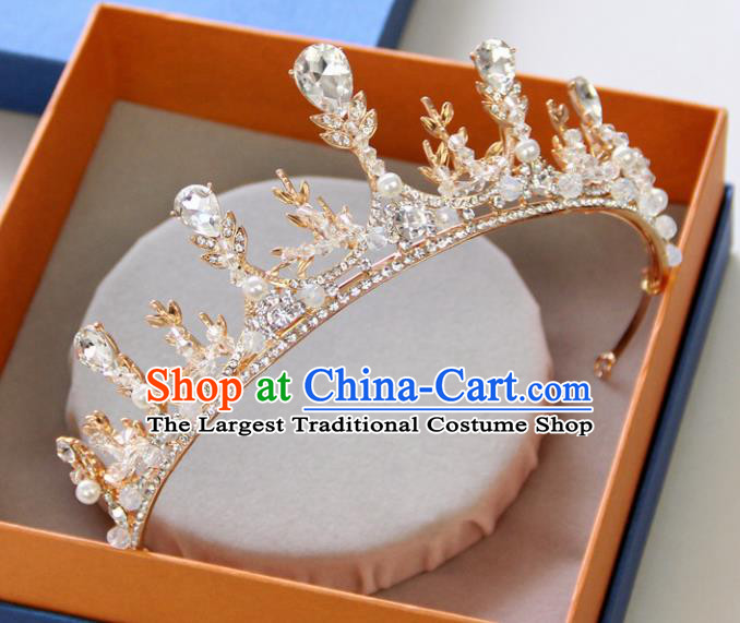 Handmade Baroque Princess Crystal Golden Royal Crown Children Hair Clasp Hair Accessories for Kids