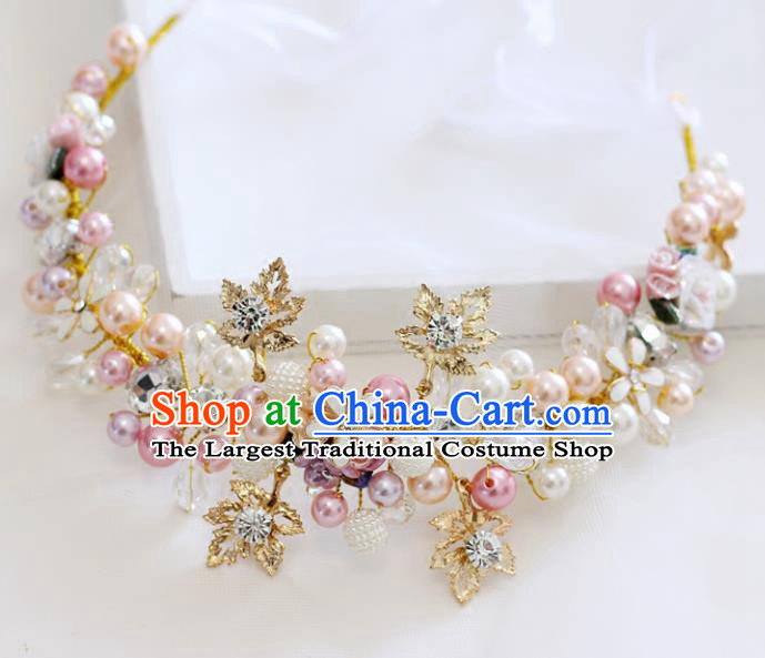 Handmade Baroque Princess Pearls Crystal Royal Crown Children Hair Clasp Hair Accessories for Kids