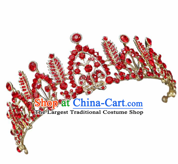 Handmade Baroque Princess Red Crystal Royal Crown Children Hair Accessories for Kids