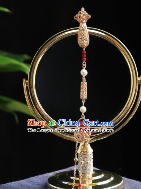 Traditional Chinese Handmade Pearls Tassel Brooch Hanfu Breastpin Jewelry Accessories for Women