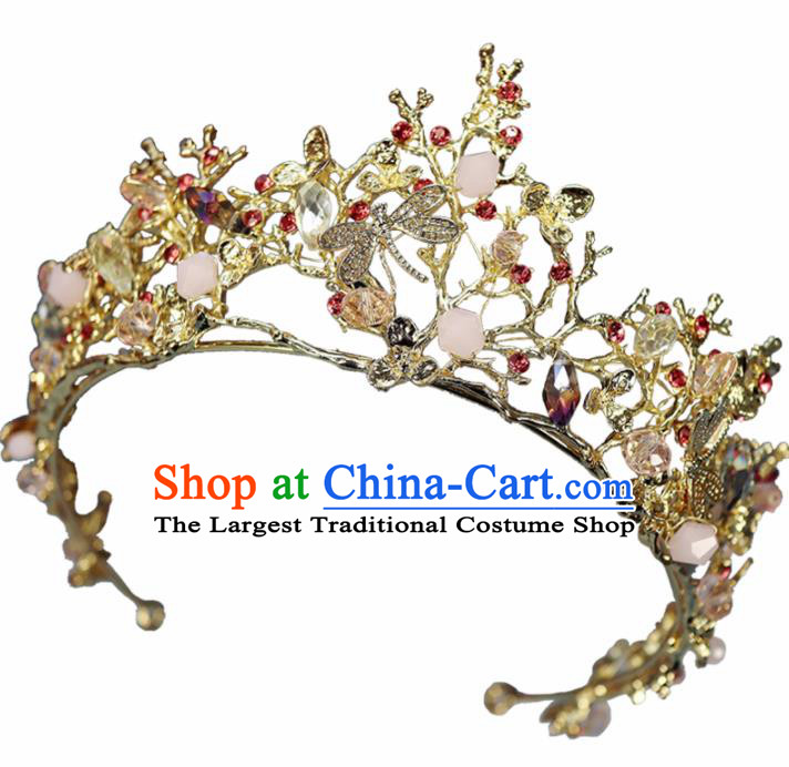 Handmade Baroque Princess Golden Dragonfly Royal Crown Children Hair Accessories for Kids
