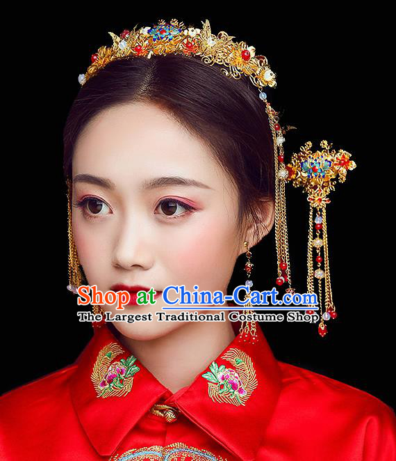 Traditional Chinese Wedding Handmade Butterfly Hair Comb Ancient Bride Hairpins Hair Accessories Complete Set
