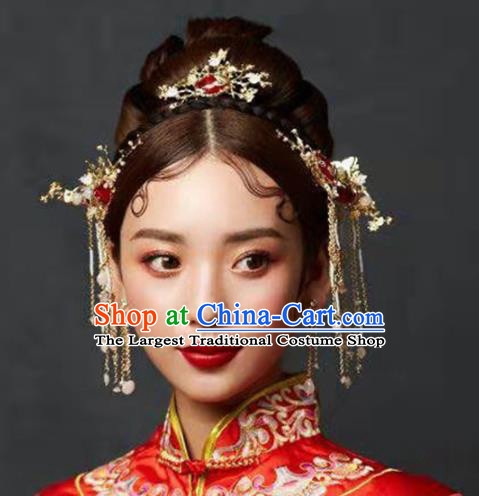Traditional Chinese Wedding Handmade Red Crystal Hair Comb Ancient Bride Hairpins Hair Accessories Complete Set