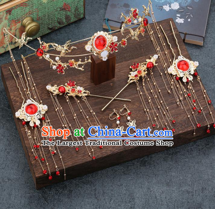 Traditional Chinese Wedding Handmade Red Crystal Hair Clasp Ancient Bride Hairpins Hair Accessories Complete Set