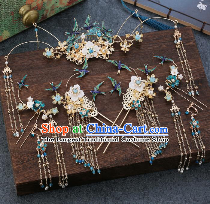 Traditional Chinese Wedding Handmade Blue Birds Hair Comb Ancient Bride Hairpins Hair Accessories Complete Set