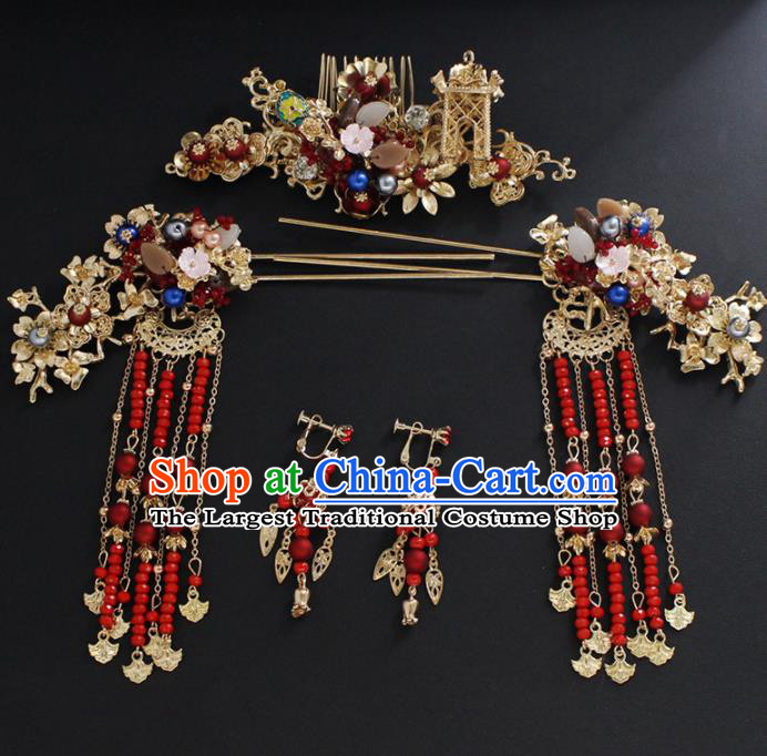 Traditional Chinese Wedding Handmade Hair Comb Ancient Bride Hairpins Hair Accessories Complete Set