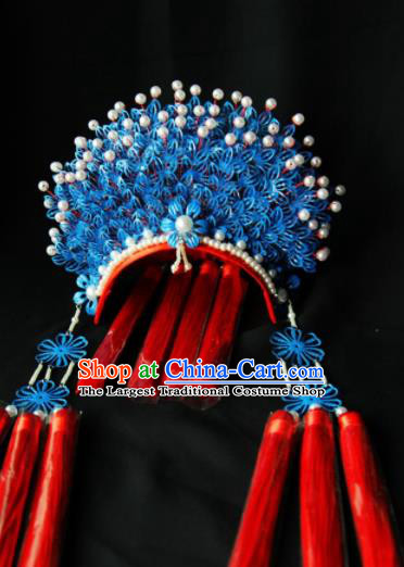 Traditional Chinese Handmade Beijing Opera Blue Phoenix Coronet Ancient Princess Hairpins Hair Accessories for Women