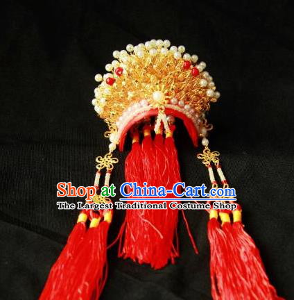 Traditional Chinese Handmade Beijing Opera Golden Phoenix Coronet Ancient Princess Hairpins Hair Accessories for Women