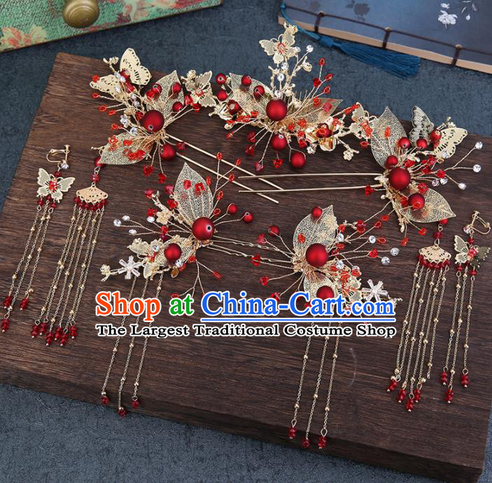 Traditional Chinese Wedding Handmade Red Beads Hair Comb Ancient Bride Hairpins Hair Accessories Complete Set