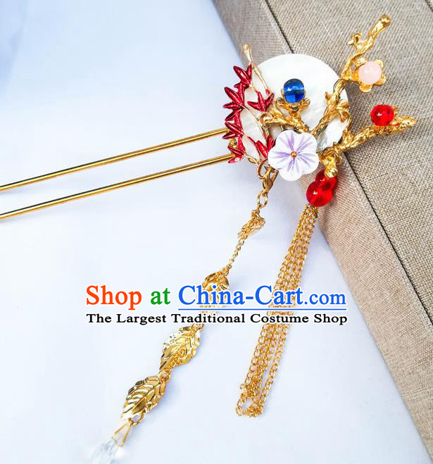 Traditional Chinese Hanfu Moon Plum Hair Clip Ancient Court Princess Hairpins Hair Accessories for Women