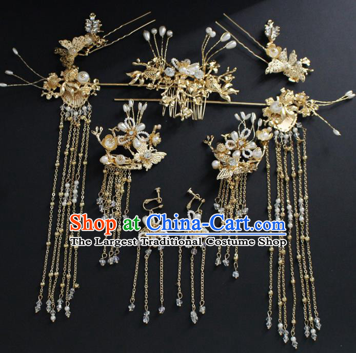 Traditional Chinese Wedding Handmade Golden Hair Comb Ancient Bride Hairpins Hair Accessories Complete Set