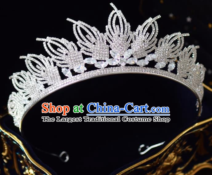 Handmade Baroque Princess Zircon Royal Crown Bride Wedding Hair Accessories for Women