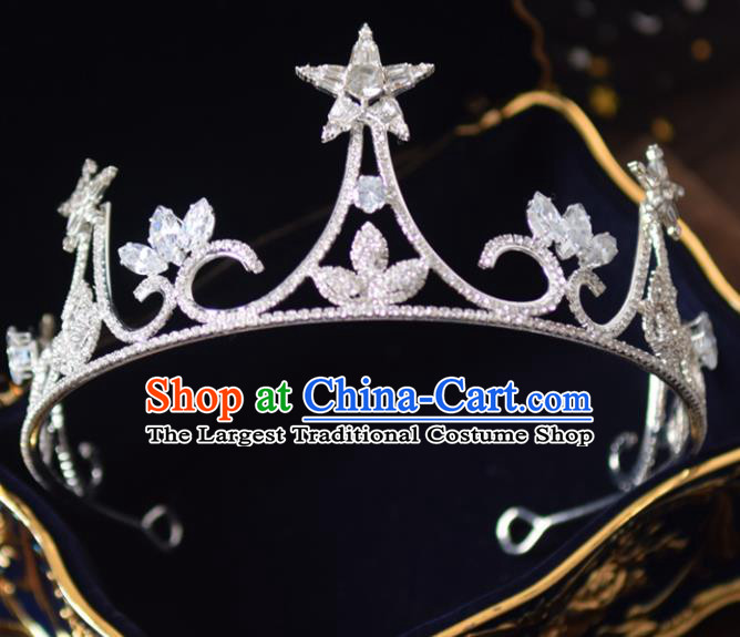Handmade Baroque Princess Zircon Star Royal Crown Bride Wedding Hair Accessories for Women