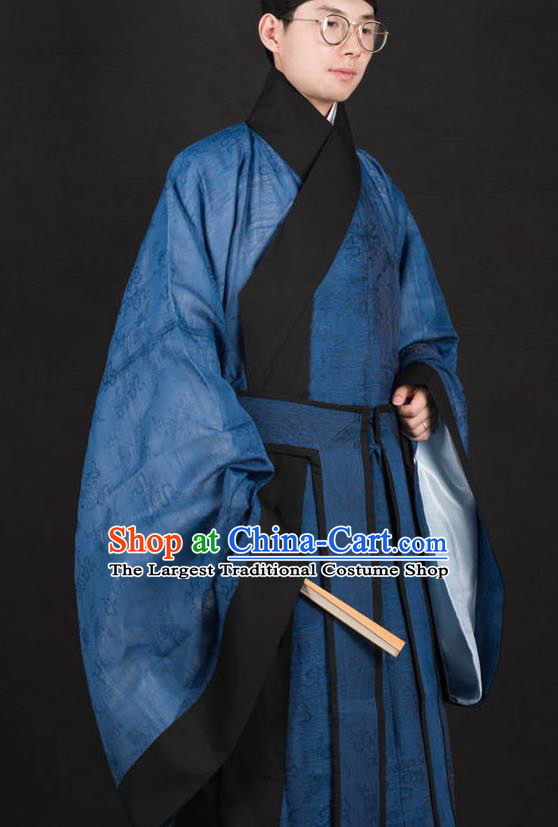 Traditional Chinese Ming Dynasty Scholar Replica Costumes Ancient Taoist Priest Blue Hanfu Clothing for Men