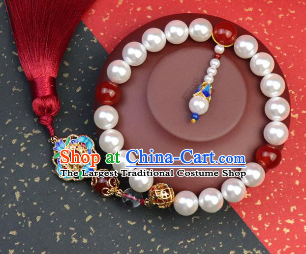 Traditional Chinese Handmade Beads Tassel Brooch Hanfu Breastpin Jewelry Accessories for Women